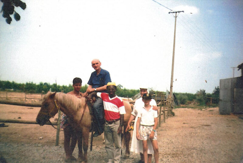 don Biago a cavallo nel primo recinto costruito